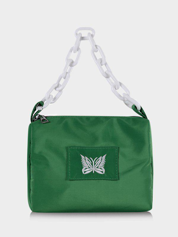 Butterfly Embroidery Chain Square Handbag - DEEP GREEN