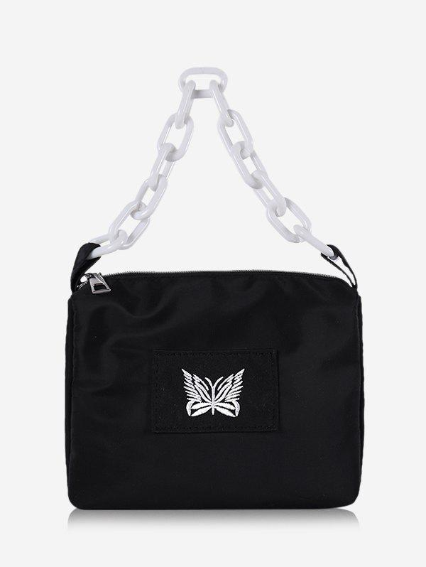Butterfly Embroidery Chain Square Handbag - BLACK