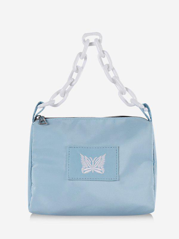 Butterfly Embroidery Chain Square Handbag - LIGHT BLUE