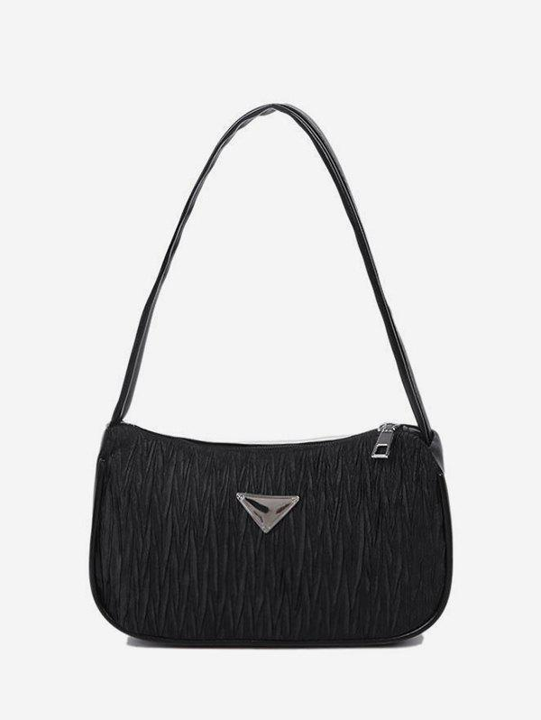 Crinkle Underarm Shoulder Bag - BLACK