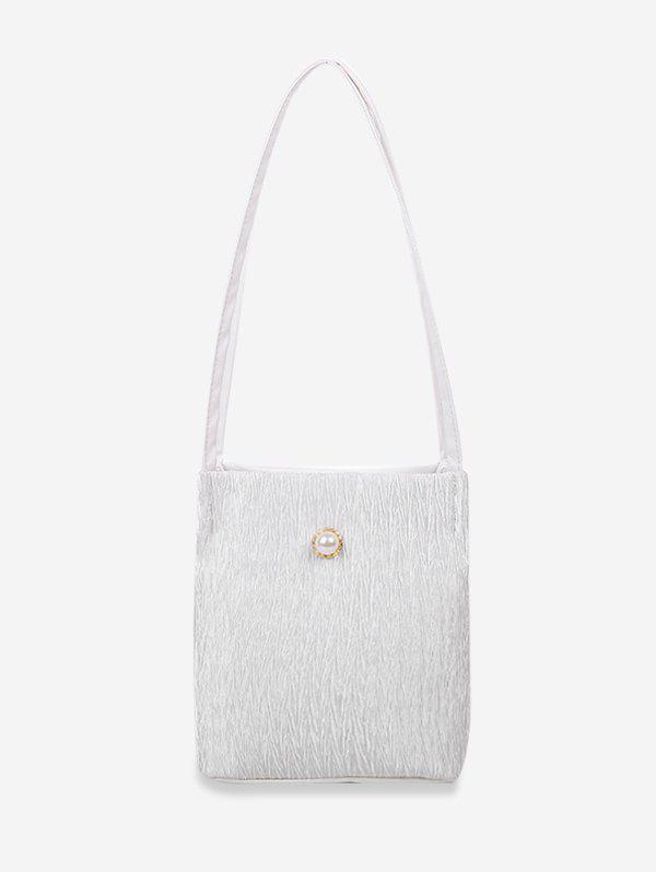 Faux Pearl Textured Rectangle Shoulder Bag - WHITE