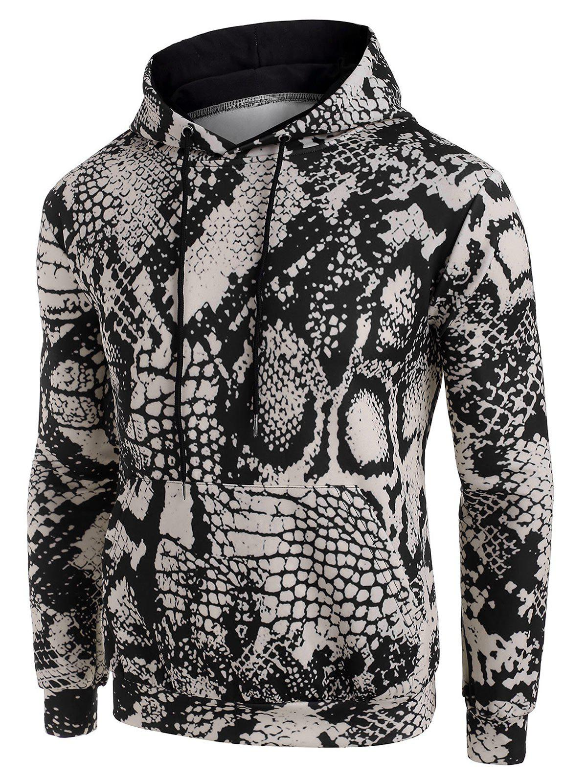 Snake Animal Print Drawstring Hoodie - DARK KHAKI 3XL