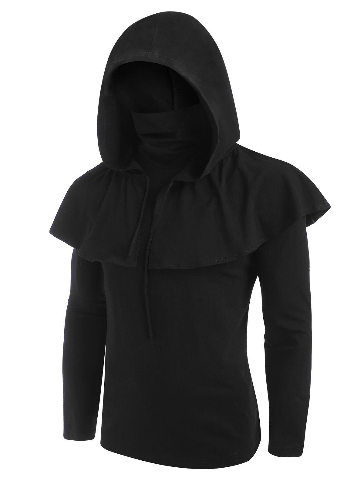 Gothic Hooded Cape and Mask Top Two Piece Sets - BLACK M