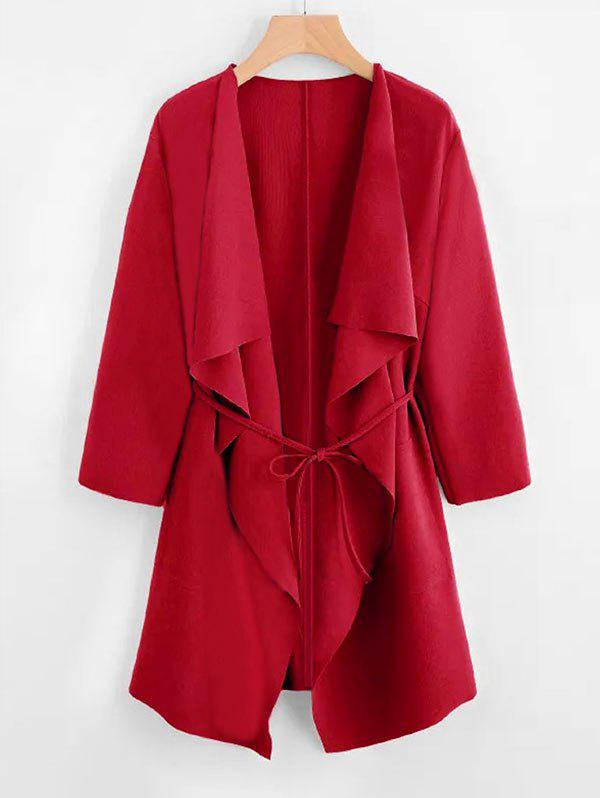 Plus Size Draped Front Belted Coat - RED 5XL
