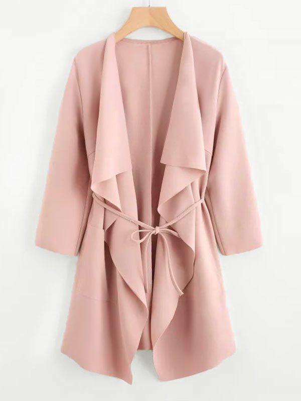 Plus Size Draped Front Belted Coat - LIGHT PINK 4XL