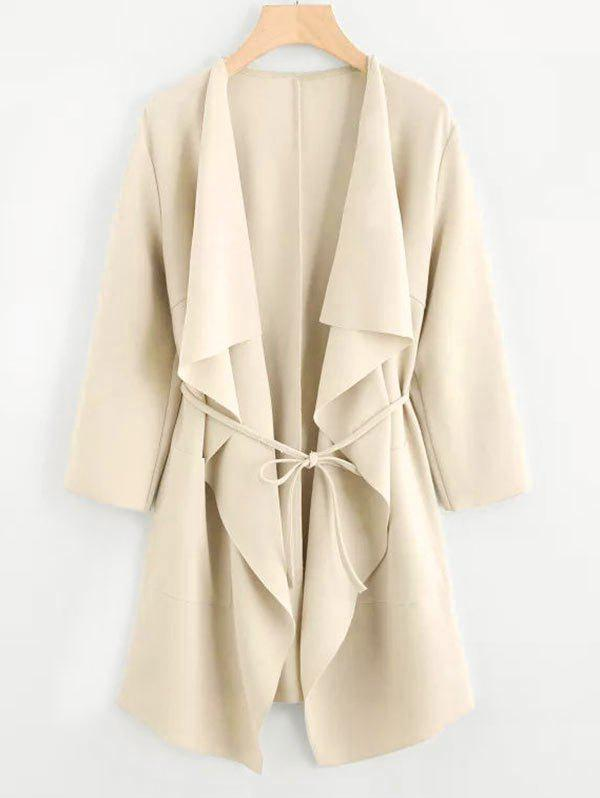 Plus Size Draped Front Belted Coat - LIGHT YELLOW 4XL