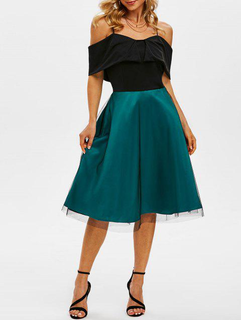 Lace Overlay Cami Foldover Bicolor Dress
