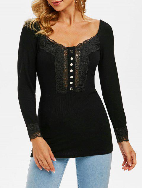 Lace Insert Mock Button Ribbed Knitwear