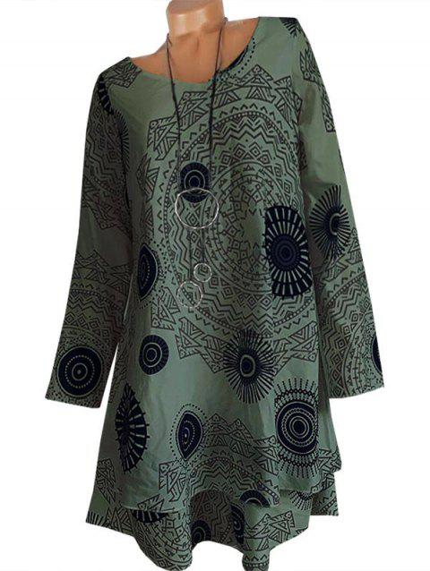 Abstract Print Layered Trapeze Long Sleeve Dress
