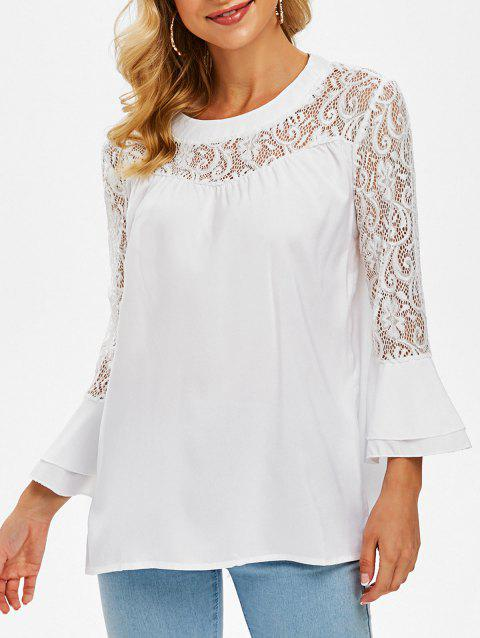 Layered Flare Sleeve Lace Panel Blouse