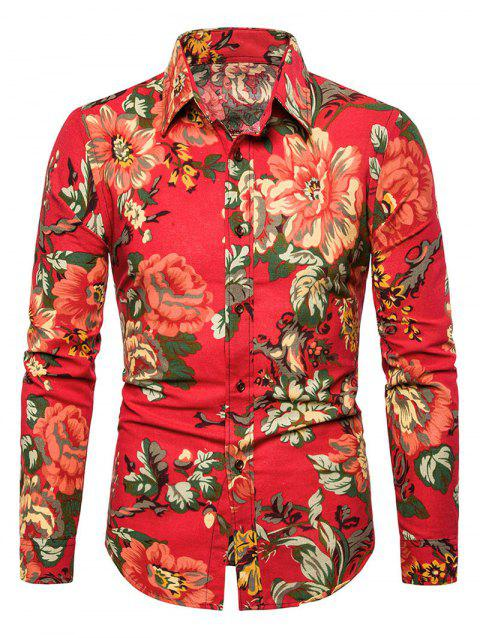 Casual Peony Flower Print Button Up Shirt