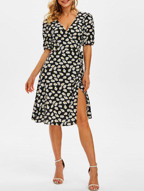 Puff Sleeve Daisy Pattern Self Belted Wrap Dress