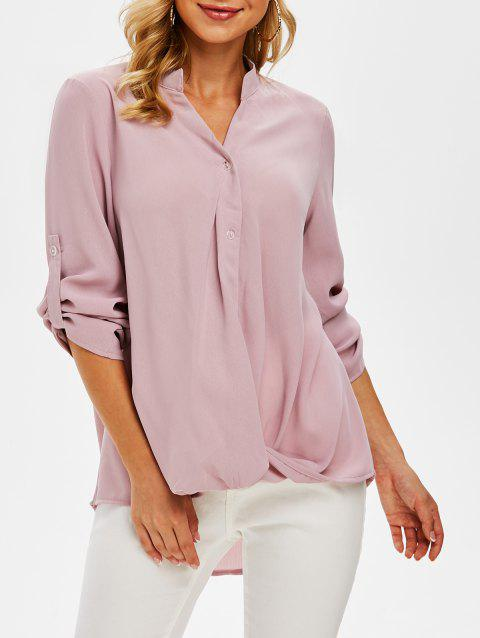 Twist Front High Low Roll Sleeve Blouse