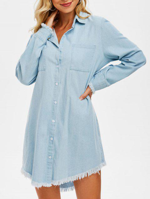 Front Pocket Frayed Denim Shirt Dress