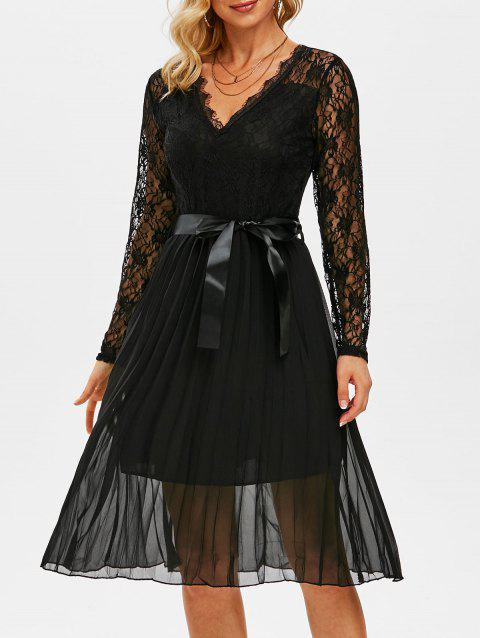 Lace Bodice Chiffon Belted Pleated Dress