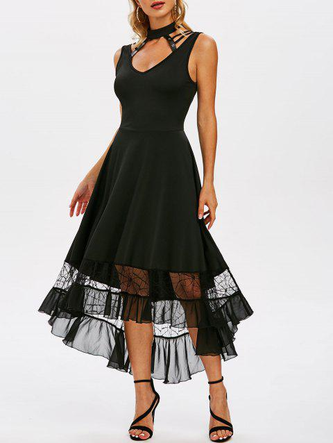 High Low Mesh Panel Flounce Gothic Dress