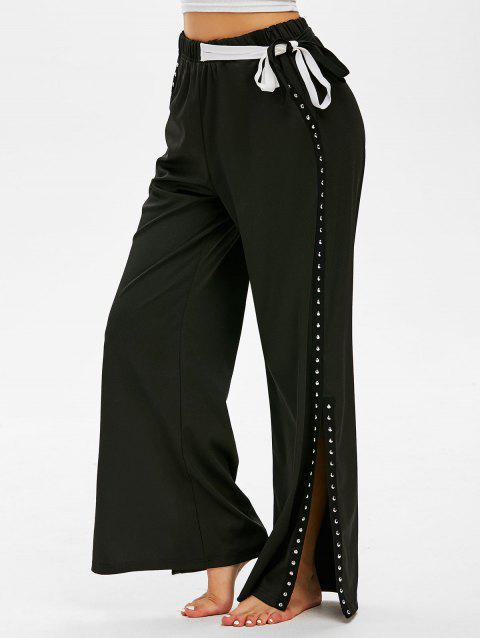 Tie Rivets Side Slit Wide Leg Pants
