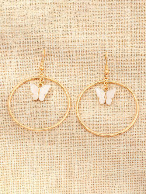 Butterfly Pendant Circular Drop Earrings