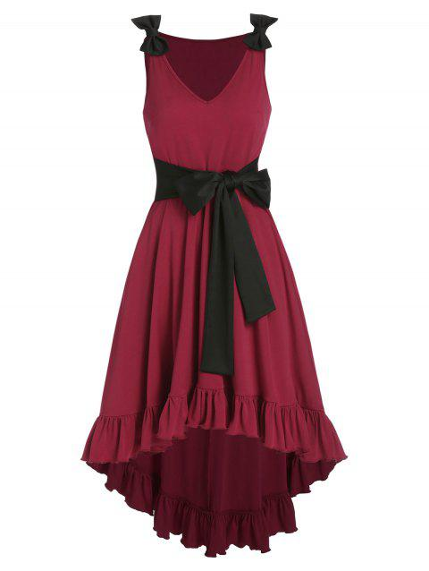 Ruffles Bowknot  Bicolor High Low Dress