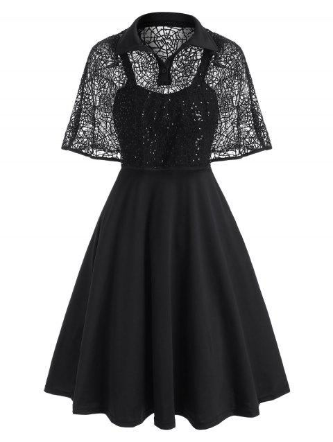 Halloween Spider Web Lace Sequined Cape Dress