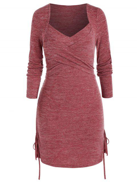 Plus Size Crossover Cinched Ruched Long Sleeve Dress