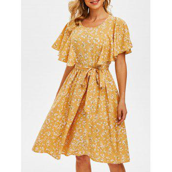 Tiny Floral Print Cut Out Belted Dress