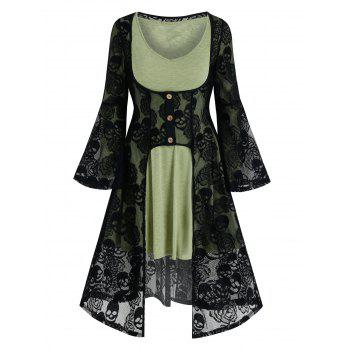 Halloween Skull Lace Cardigan and Flare Dress