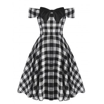 Plus Size Off The Shoulder Checked Bowknot Dress