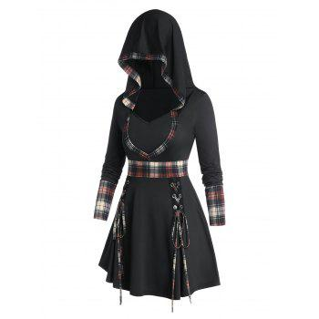 Plus Size Hooded Plaid Lace-up A Line Tee
