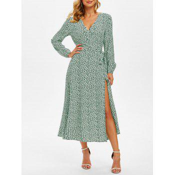 Floral Print Belted Surplice Dress