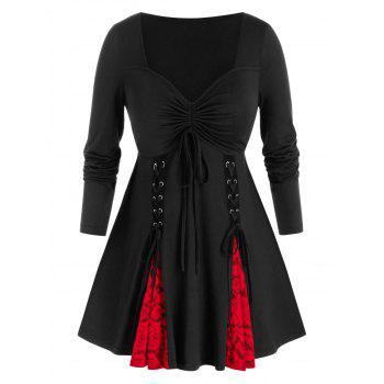 Plus Size Lace-up Cinched Tie Long Sleeve Tunic Tee