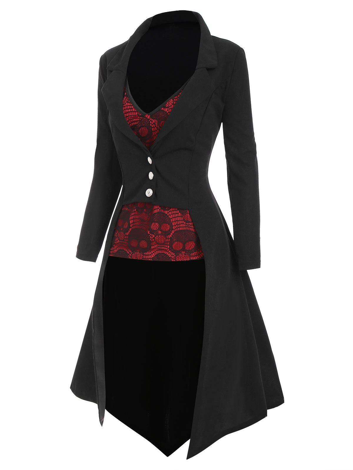 Halloween High Low Lapel Trench Coat with Skull Lace Camisole - BLACK S