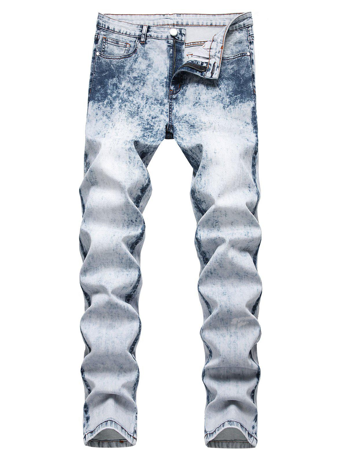Bleach Wash Tapered Jeans - LIGHT BLUE 38