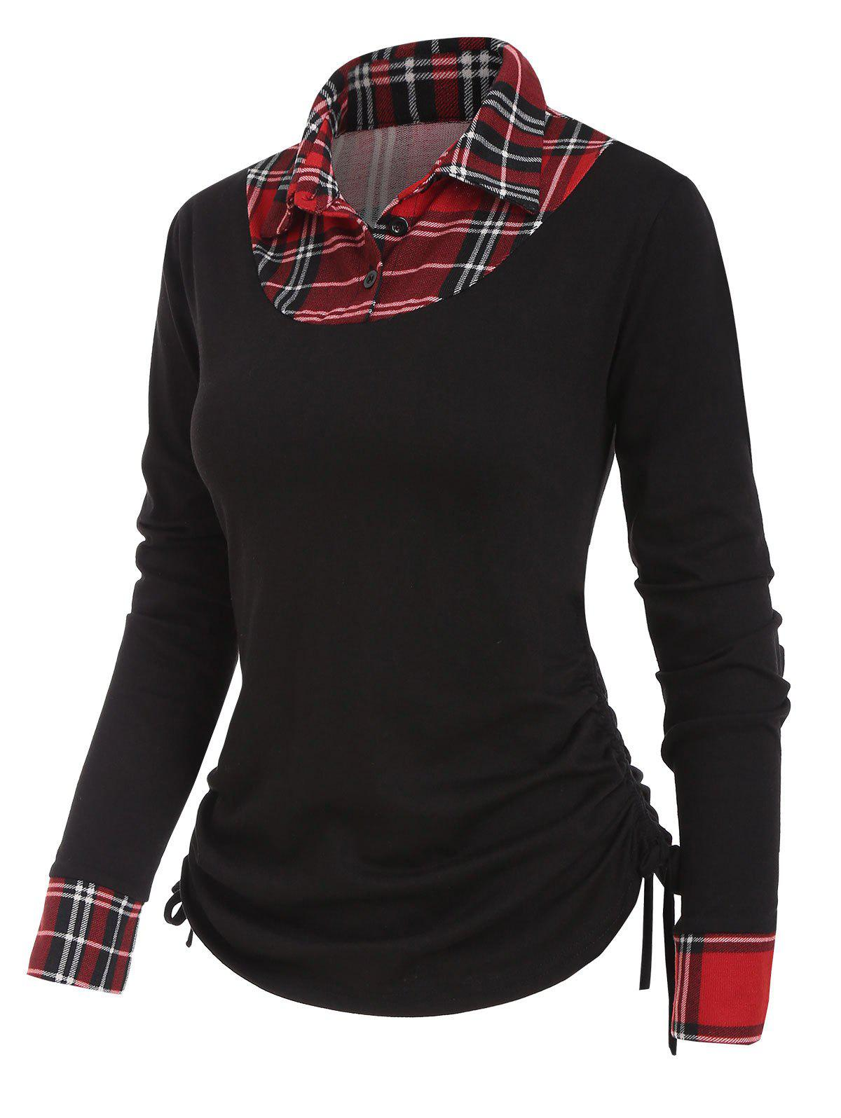 Plaid Insert Button Placket Shirt Collar T-shirt - BLACK L