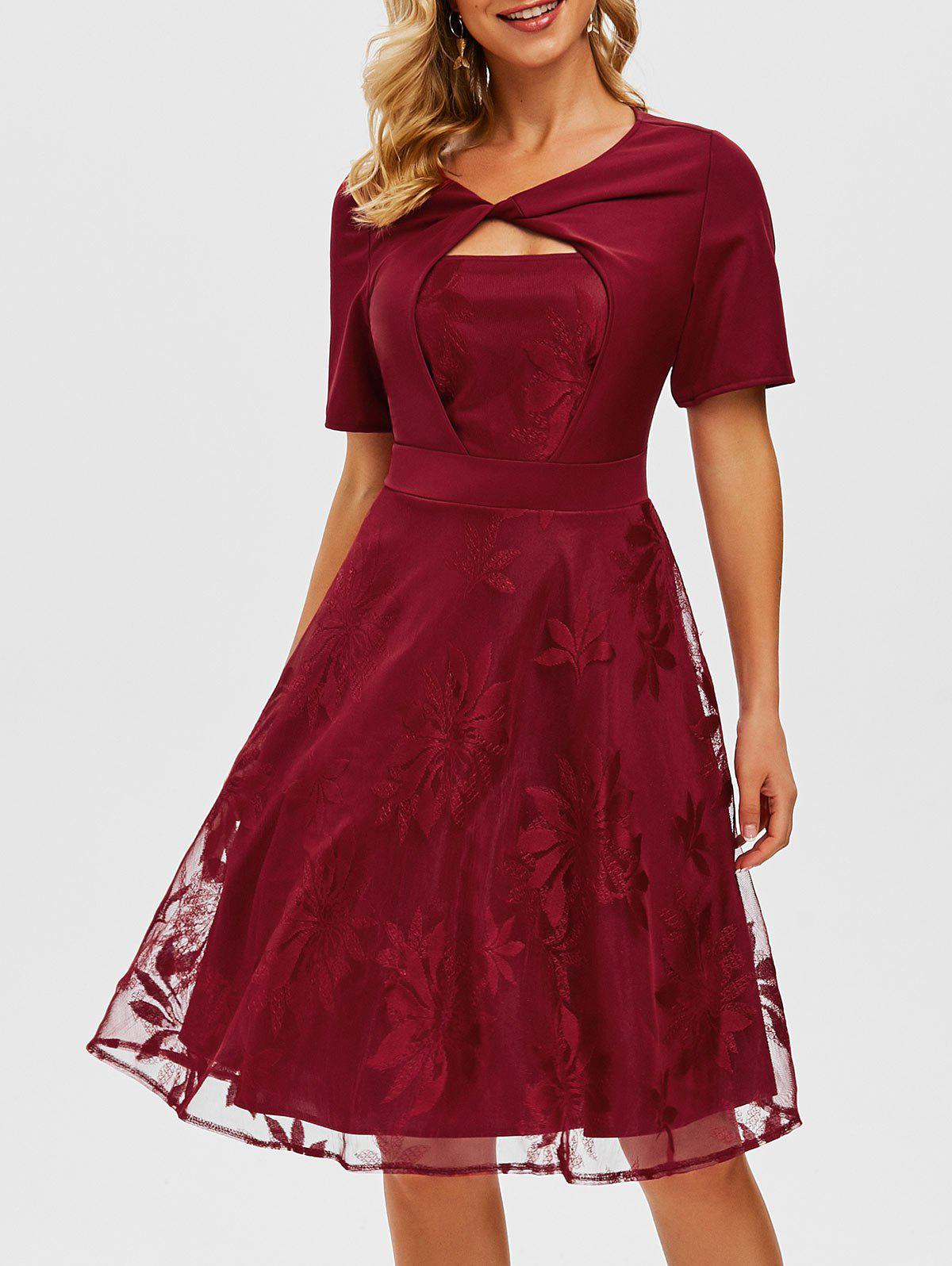 Lace Overlay Twisted Keyhole Dress - RED M