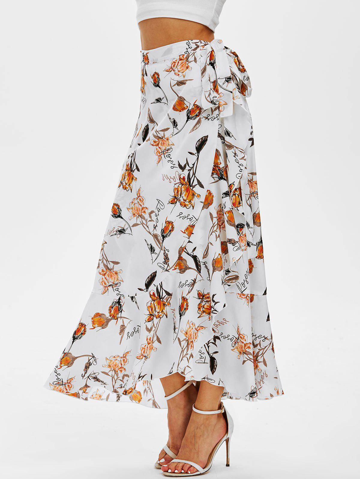 Flower Print Wrap Maxi Skirt - WHITE M