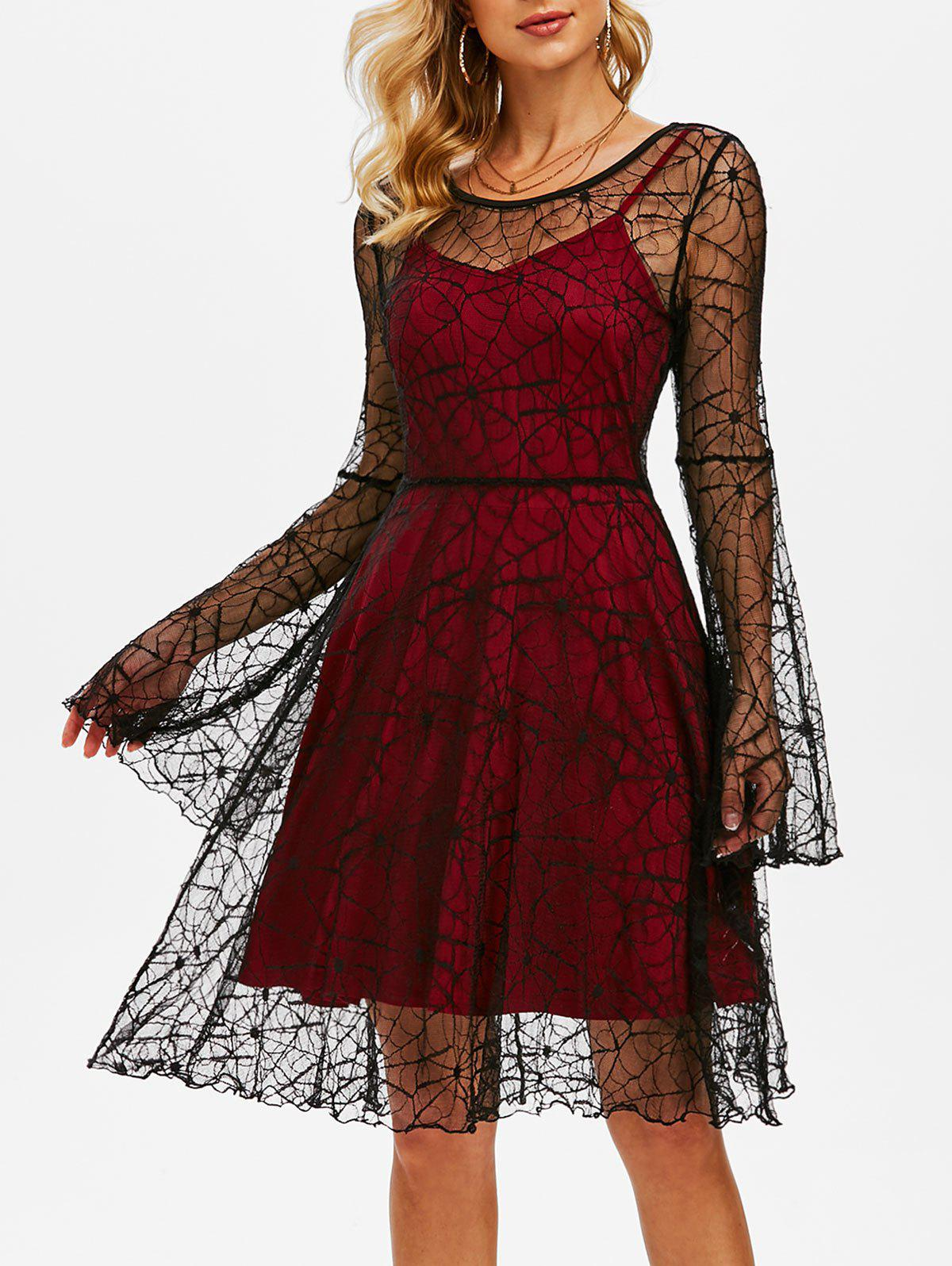 Halloween Spider Web Lace Dress and Plain Cami Dress - BLACK L