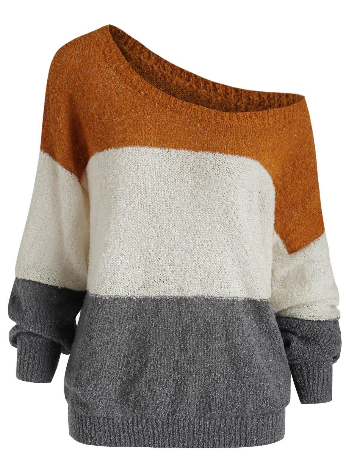 Drop Shoulder Colorblock Loose Sweater - multicolor XL