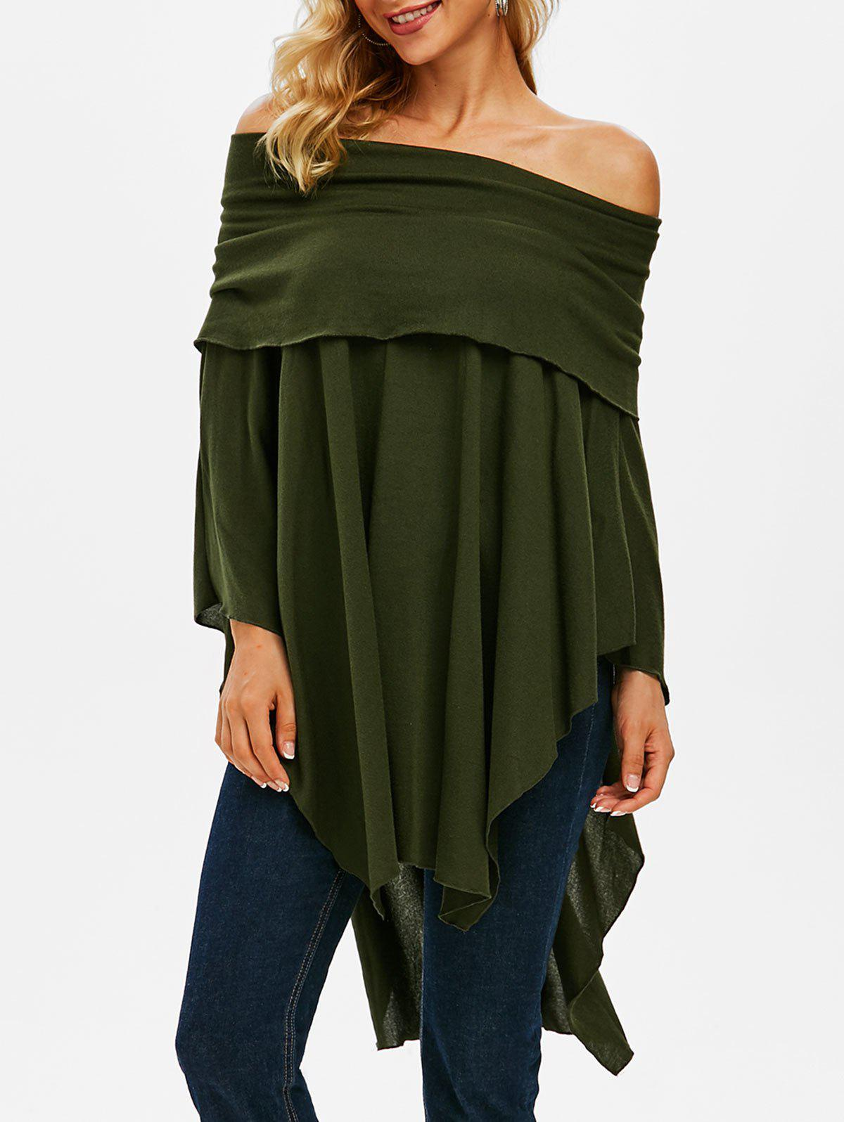 Foldover Off Shoulder Poncho Sweater - DEEP GREEN M