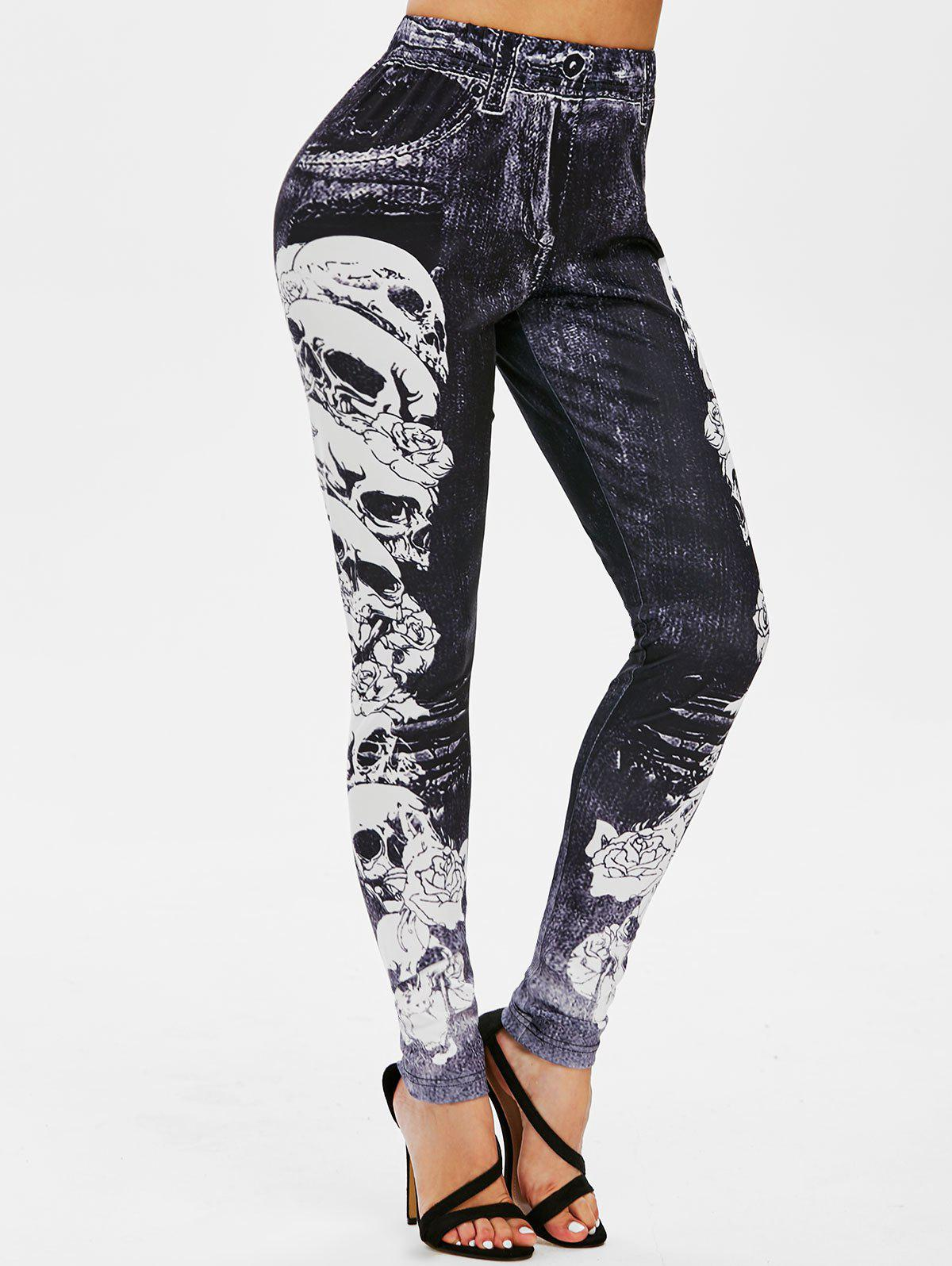 3D Skull Print High Waisted Skinny Leggings - BLACK XL