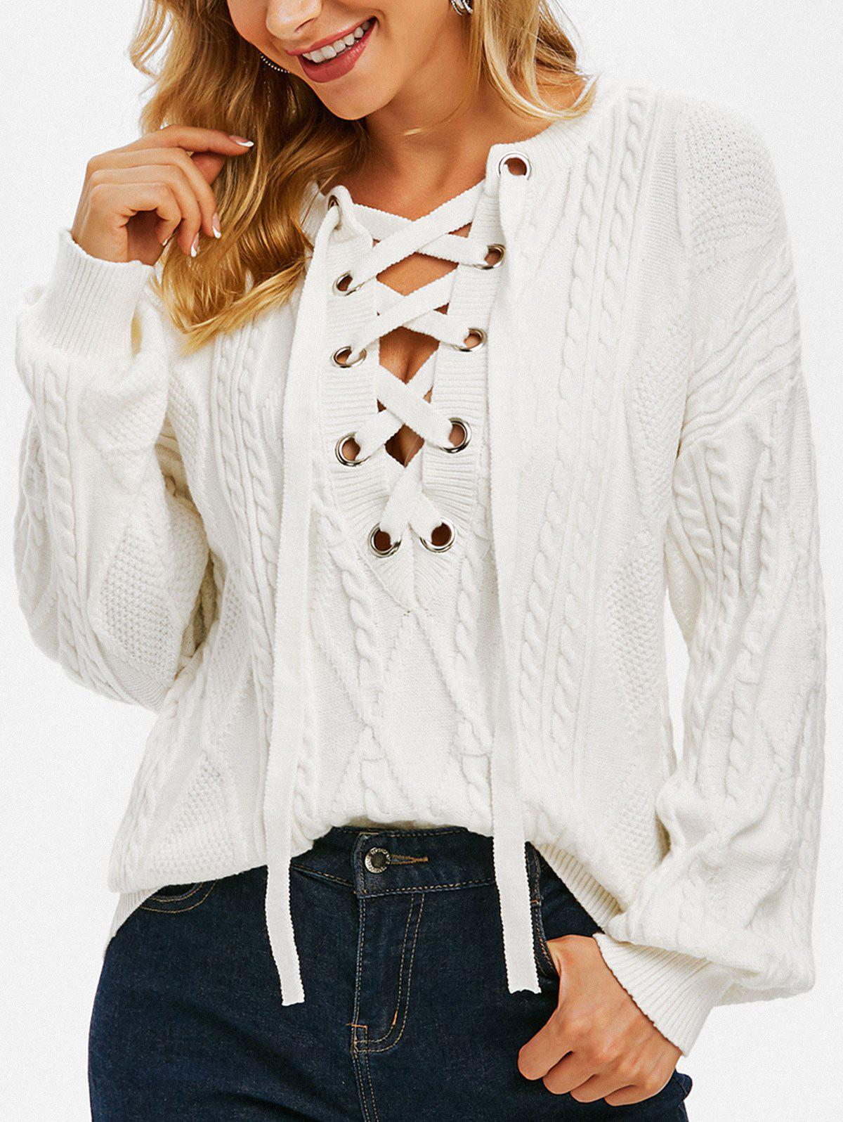 Cable Knit Lace Up Drop Shoulder Sweater - WHITE L