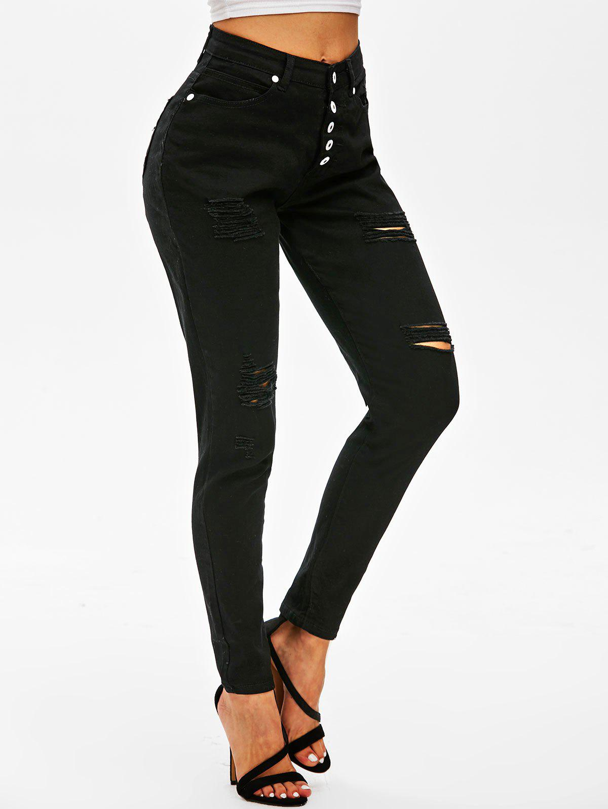 Distressed Button Fly High Waisted Jeans - BLACK L