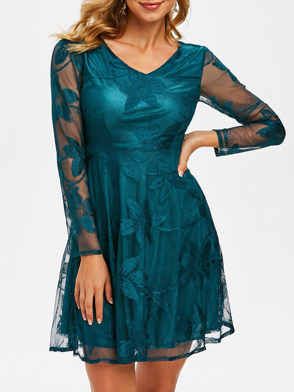Flower Lace V Neck Mini Dress - DEEP GREEN M