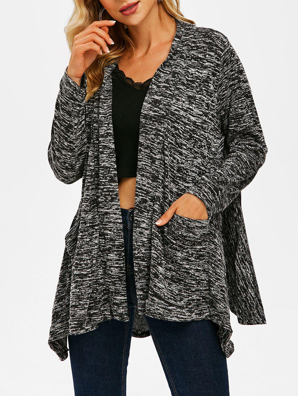 Heather Pocket Open Front Asymmetrical Cardigan - GRAY L