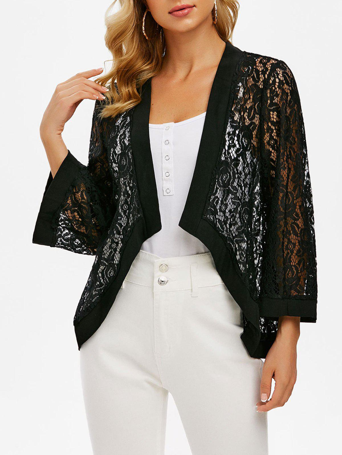 Flower Lace Open Front See Thru Cardigan - BLACK 2XL