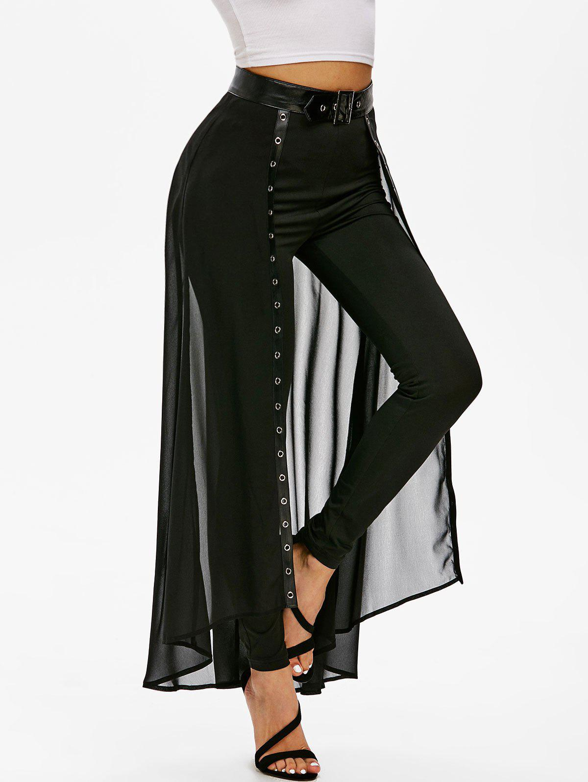 Belted Slim Pants with Skirt Overlay - BLACK M