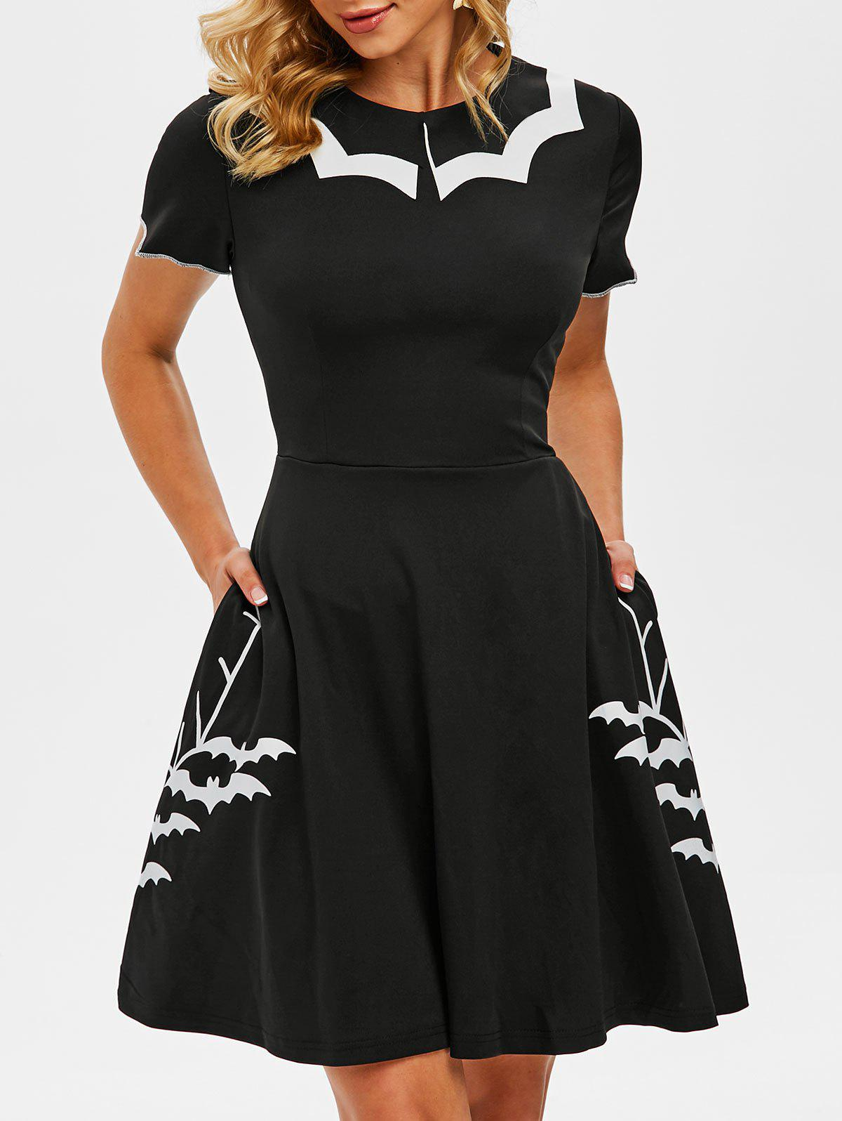Flat Collar Halloween Bat Print Side Pocket Dress - BLACK L