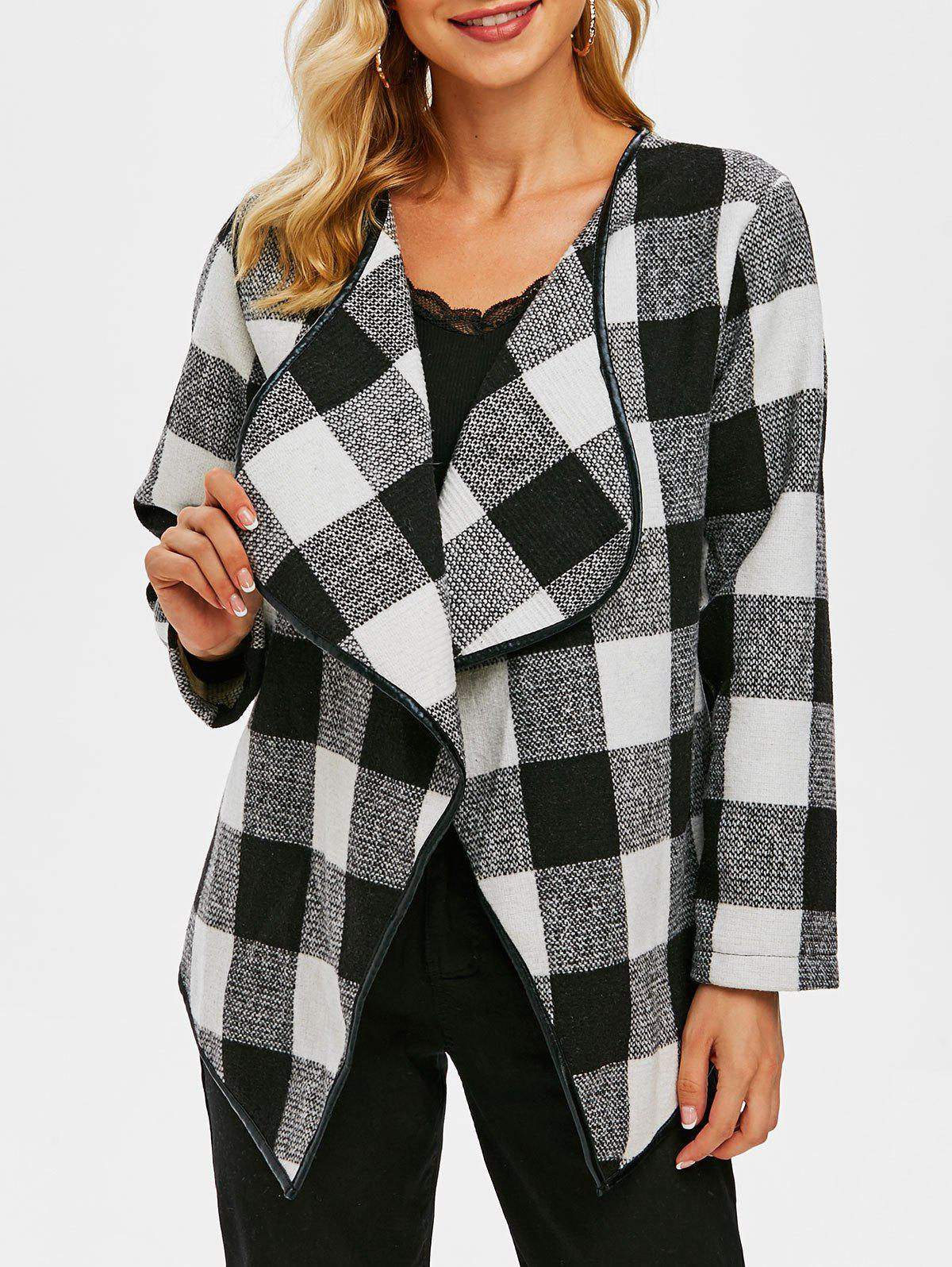 Checked Draped Tweed Jacket - BLACK 2XL