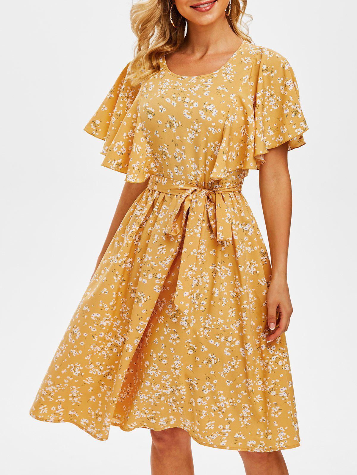 Tiny Floral Print Cut Out Belted Dress - BRIGHT YELLOW 3XL