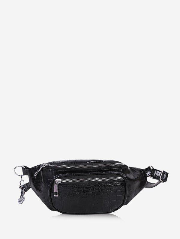 Solid Textured Chest Crossbody Bag - BLACK